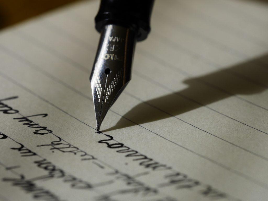 Fountain Pen writing Notes.